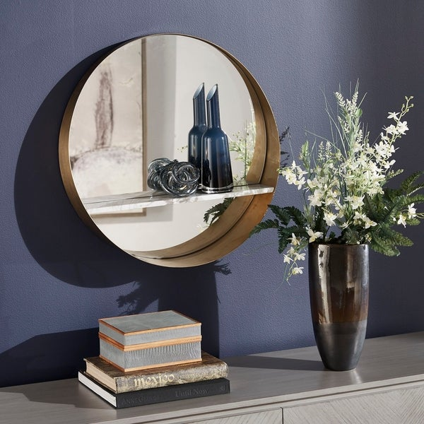 Kingston Gold Finish Round Wall Mirror by iNSPIRE Q Bold