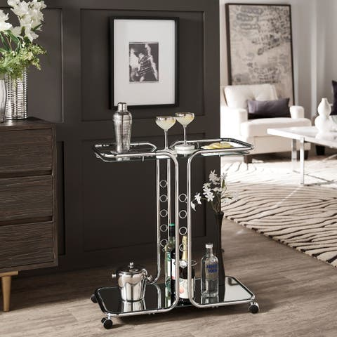 Rosewood Chrome Finish Bar Cart by iNSPIRE Q Bold