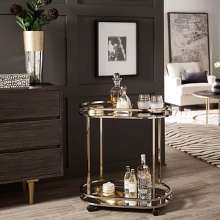 Chesley Champagne Gold Oval Bar Cart by iNSPIRE Q Bold