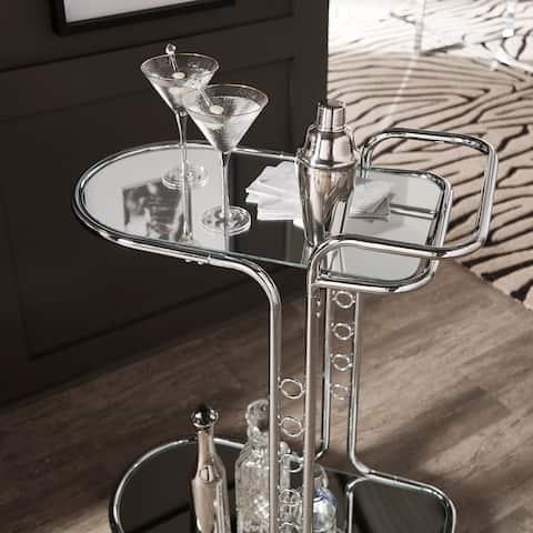 Silver Orchid Murnau Chrome Round Edge Bar Cart