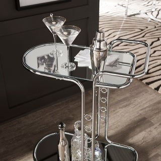 Silver Orchid Murnau Chrome Round Edge Bar Cart