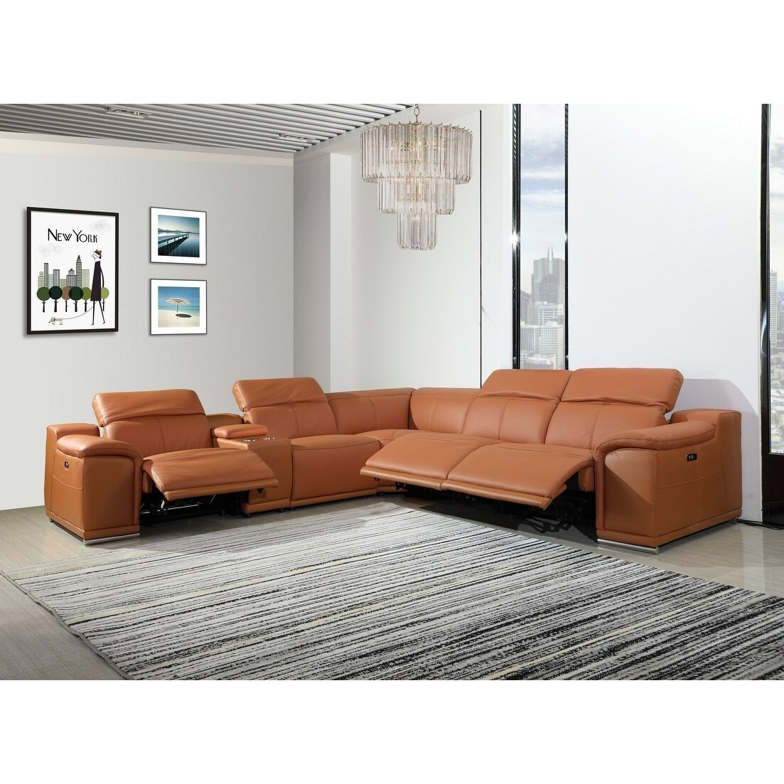 - Shop Florence 3-Power Reclining 6PC W/ 1-Console Leather Sectional