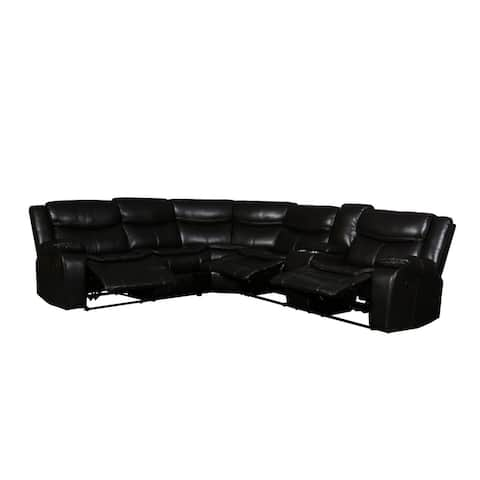 Jasper Living Room Reclining Faux Leather Sectional Sofa