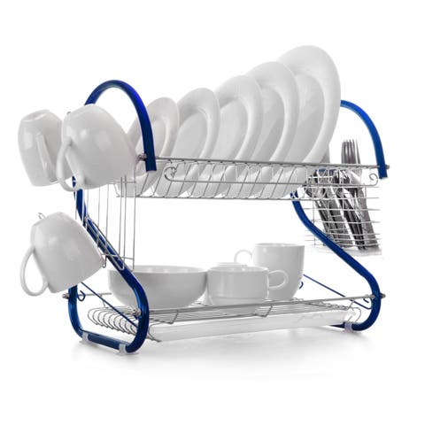 MegaChef 16 Inch Two Shelf Dish Rack in Blue