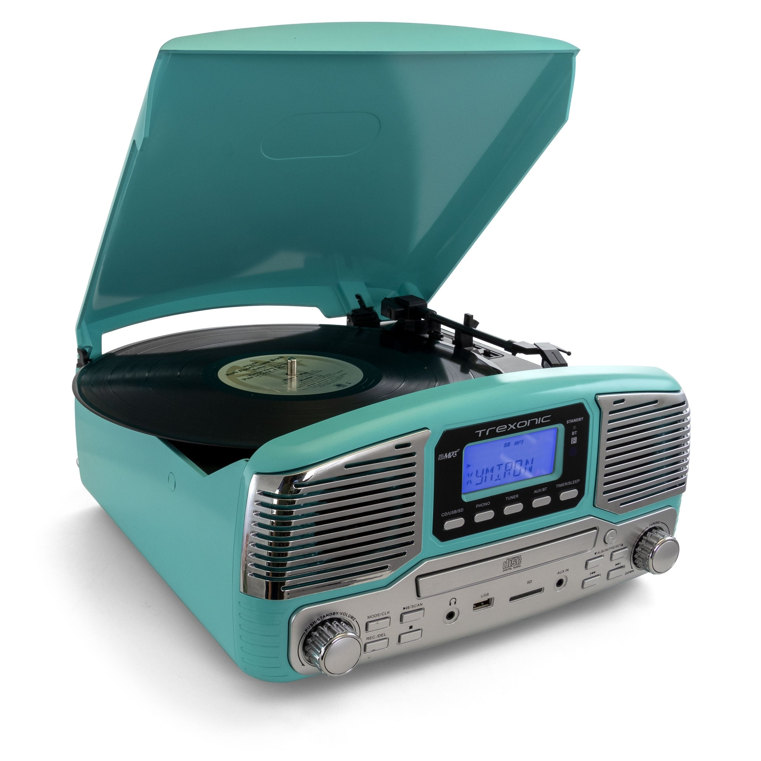 FM Radio USB Aux-In Bluetooth All-In-One Retro Turntable with CD Player