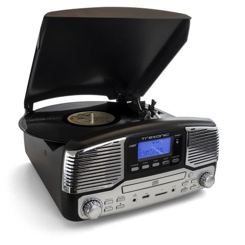 Trexonic Retro Record Player with Bluetooth in Black