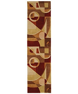 Safavieh Handmade Rodeo Drive Modern Abstract Beige/ Multi Wool Runner Rug (2'6 x 12')