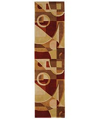 "Safavieh Handmade Rodeo Drive Modern Abstract Beige/ Multi Wool Runner Rug - 2'6"" x 12'"