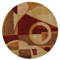 Safavieh Handmade Rodeo Drive Modern Abstract Beige/ Multi Wool Rug - 5'9 Round