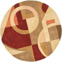 "Safavieh Handmade Rodeo Drive Modern Abstract Beige/ Multi Wool Rug - 5'9"" x 5'9"" Round"