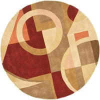 "Safavieh Handmade Rodeo Drive Modern Abstract Beige/ Multi Wool Rug - 7'9"" x 7'9"" round"