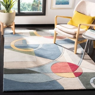 Safavieh Handmade Rodeo Drive Modern Abstract Blue/ Multi Wool Rug (3'6 x 5'6)