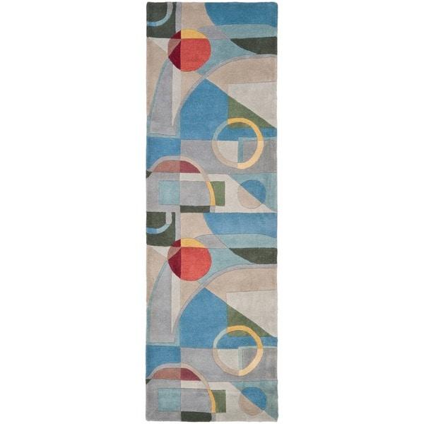 Safavieh Handmade Rodeo Drive Modern Abstract Blue/ Multi Wool Runner Rug (2'6 x 12')