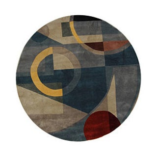 Safavieh Handmade Rodeo Drive Modern Abstract Blue/ Multi Wool Rug (5'9 Round)