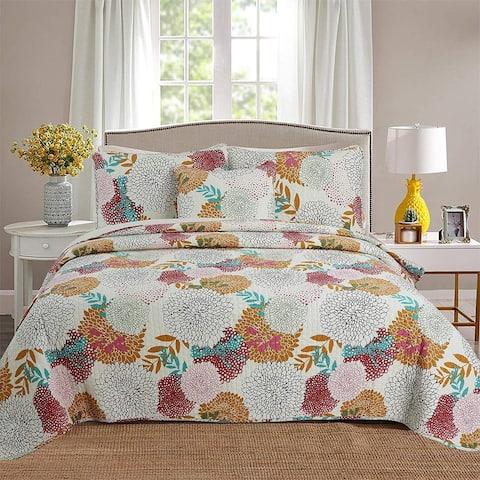 Cozy Line Orange Blossom 3-Piece Cotton Quilt Set