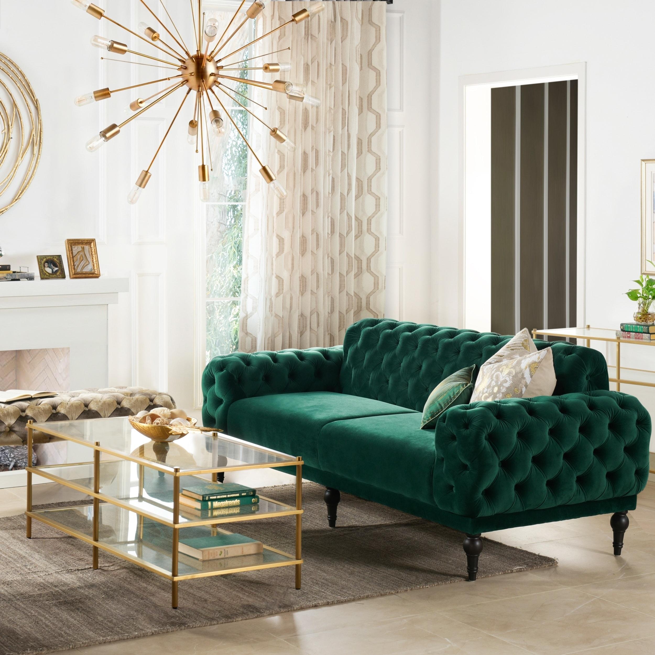 Jennifer Taylor Home Tappman Modern Button Tufted Velvet Sofa