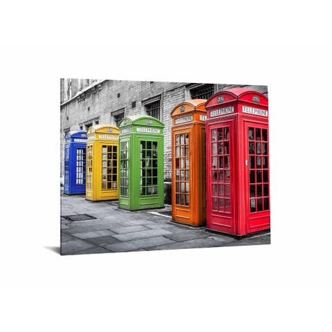 "40x60 Brilliant Tempered Glass ""Phone Booths in Color"" by Classy Art"