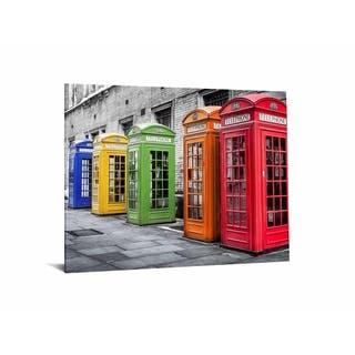 """40x60 Brilliant Tempered Glass """"Phone Booths in Color"""" by Classy Art"""