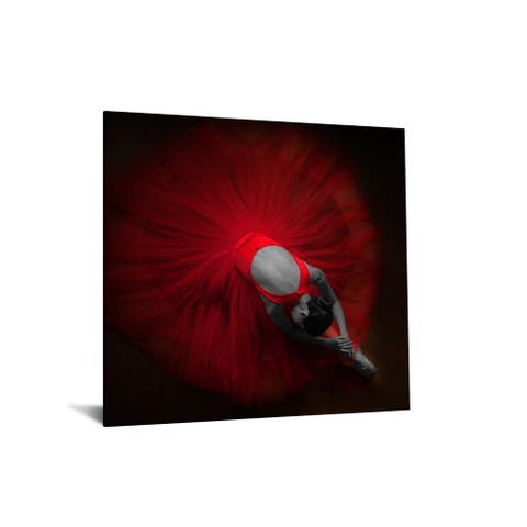 """40x60 Brilliant Tempered Glass """"Red Ballerina"""" by Classy Art"""