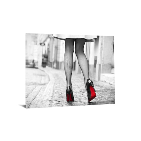 """40x60 Brilliant Tempered Glass """"Red Bottom Runway"""" by Classy Art"""