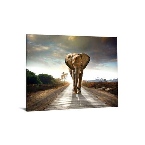 "40x60 Brilliant Tempered Glass ""Elephant Journey"" by Classy Art"