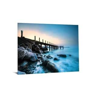 "40x60 Brilliant Tempered Glass ""Foggy Pier"" by Classy Art"