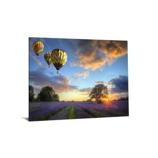 "40x60 Brilliant Tempered Glass ""Lavendar Field Sunset"" by Classy Art"