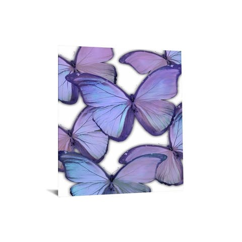 "40x60 Brilliant Tempered Glass ""Purple Monochrome Butterflies"" by Classy Art"