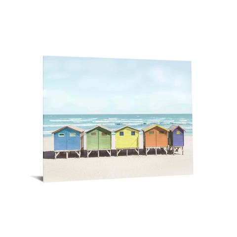 """40x60 Brilliant Tempered Glass """"Beach Bliss"""" by Classy Art"""