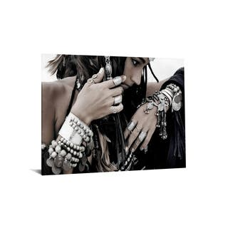 "40x60 Brilliant Tempered Glass ""Native Woman with Jewlry"" by Classy Art"