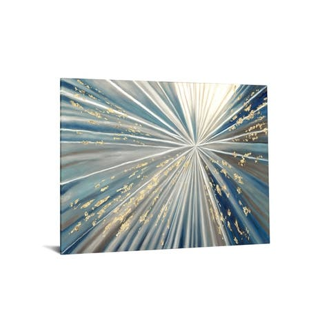 """40x60 Brilliant Tempered Glass """"Gold and Blue Fireburst"""" by Classy Art"""