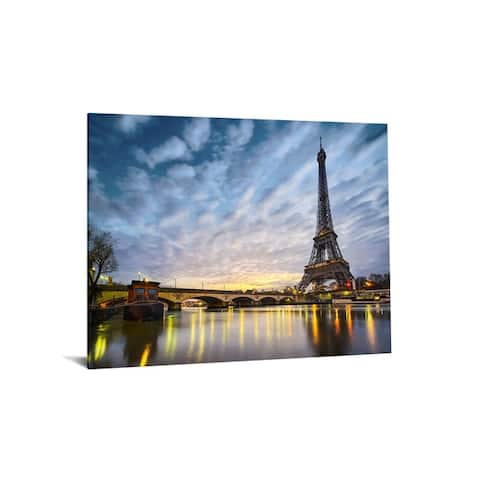 "40x60 Brilliant Tempered Glass ""Night in Paris"" with Foil by Classy Art"
