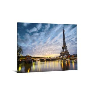 """40x60 Brilliant Tempered Glass """"Night in Paris"""" with Foil by Classy Art"""