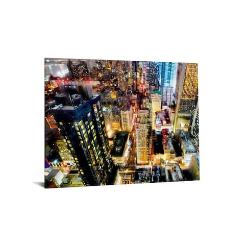"""40x60 Brilliant Tempered Glass """"City Scape"""" by Classy Art"""