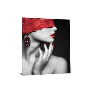 """40x60 Brilliant Tempered Glass """"Woman in Red Lace"""" by Classy Art"""
