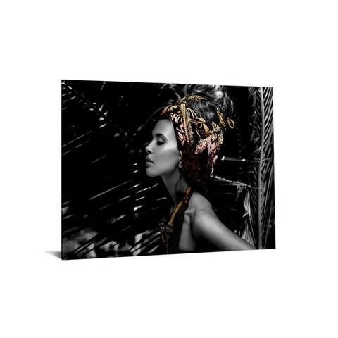 """40x60 Brilliant Tempered Glass """"Native Woman with Headpiece"""" by Classy Art"""