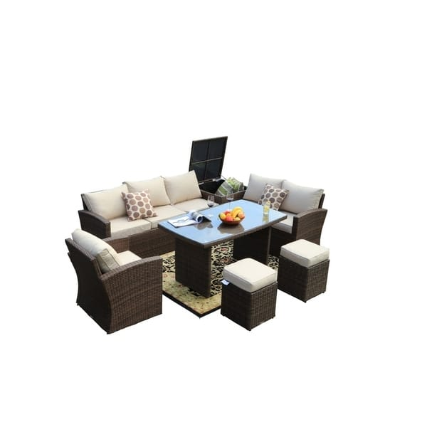 Incredible Shop 7 Piece Outdoor Sofa Set Wicker Patio Sectional Lamtechconsult Wood Chair Design Ideas Lamtechconsultcom