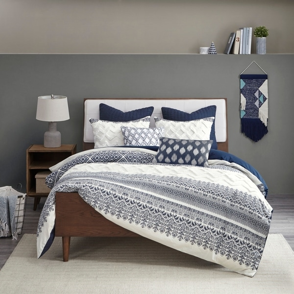 The Curated Nomad Natoma Navy Cotton Chenille Printed King/ Cal King Size Comforter Set (As Is Item). Opens flyout.
