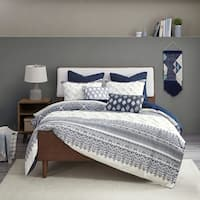 The Curated Nomad Natoma Navy Cotton Chenille Printed King/ Cal King Size Comforter Set (As Is Item)