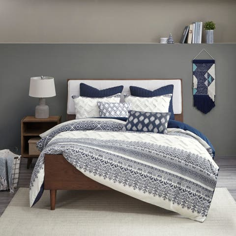 The Curated Nomad Natoma Navy Cotton Chenille Printed Comforter Set
