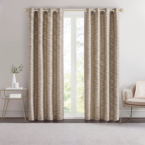 Madison Park Quinn Yarn Dyed Texture Grommet Top Single Curtain Panel