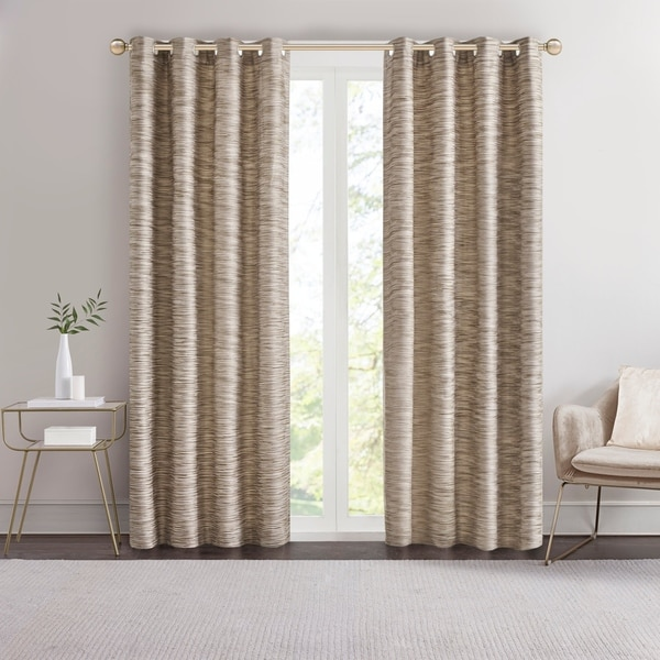Madison Park Quinn Yarn Dyed Texture Grommet Top Single Curtain Panel. Opens flyout.