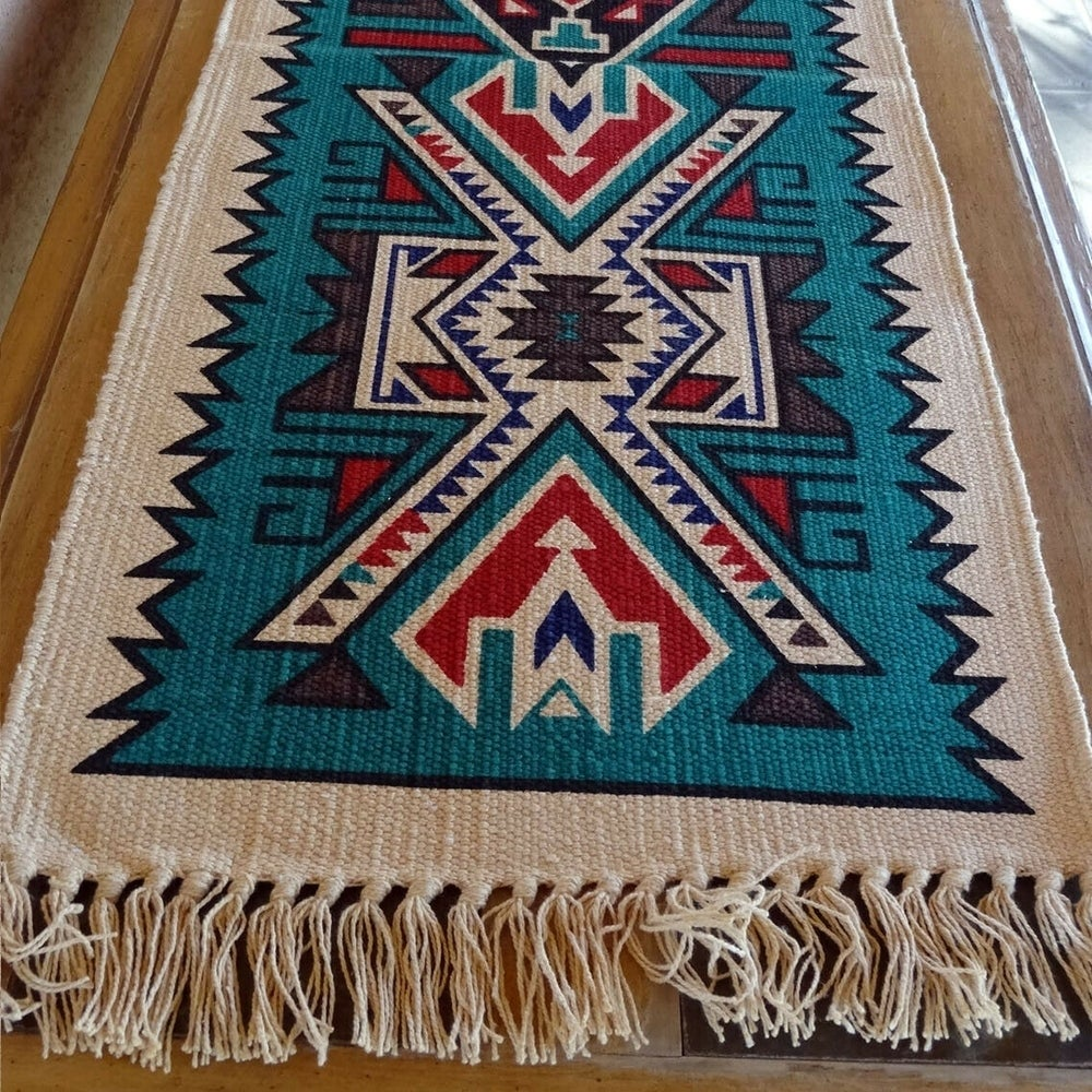 Canvas Stencil Southwestern Table Runner Cream Teal Red 13 X 72