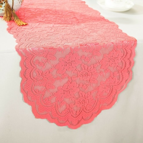 "Polyester Lace Table Runner Coral 13.5"" x 108"""