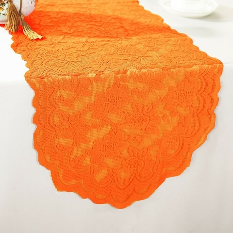"Polyester Lace Table Runner Orange 13.5"" x 108"""