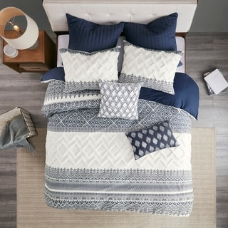Link to The Curated Nomad Natoma Navy Cotton Chenille Printed Duvet King/Cal King Size Cover Set (As Is Item) Similar Items in As Is