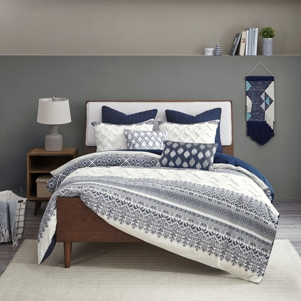 The Curated Nomad Natoma Navy Cotton Chenille Printed Duvet Cover Set