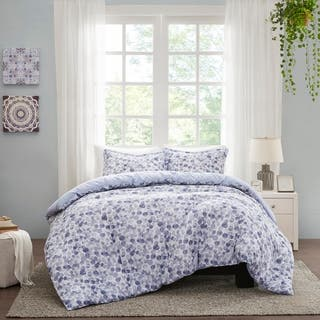 Madison Park Abbie Blue Cotton Printed Duvet Cover Set