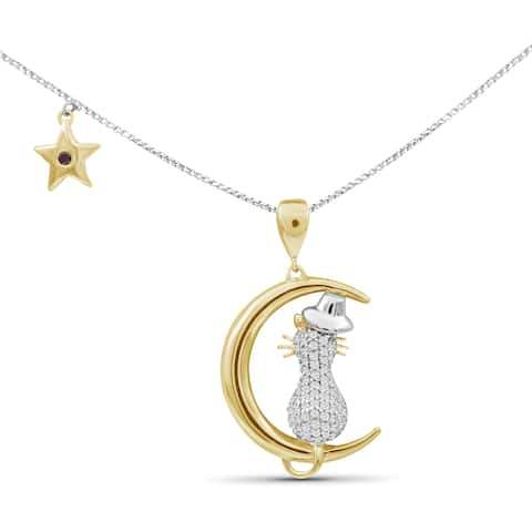 JewelonFire 1/5 Ctw Red & White Diamond Cat on Moon Two-tone Silver Pendant