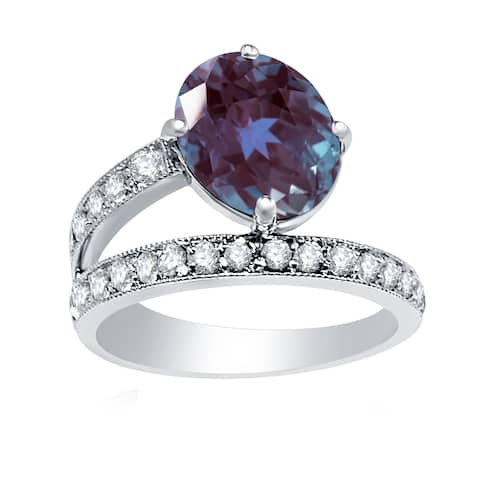 Sterling Silver with Color Changing Alexandrite and Natural White Topaz Solitaire Ring